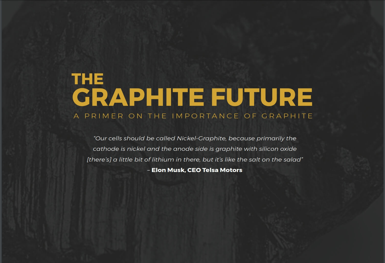 EXCLUSIVE Primer on Graphite for Mineral Investors